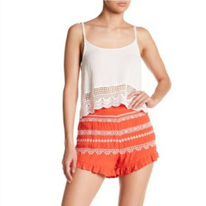 Moon River coral embroidered shorts